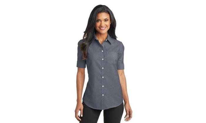 48d05ef238fbcb Port Authority L659 Ladies Short Sleeve SuperPro Oxford Shirt Black - Small  One Size