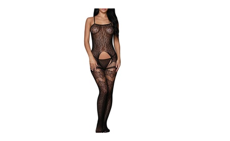 Sexy Lace Strappy Crotchless Bodystocking Fishnet Teddy Lingerie - Black 755b3ed0-d725-4a87-82b1-ff6afc438630