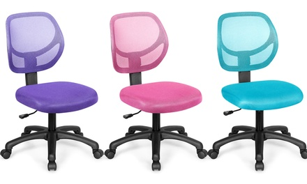 Mesh Office Chair Low-Back Armless Computer Desk Chair Adjustable Height