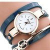 Steel Clock With PU Leather Charm Bracelet Wristwatch For Women