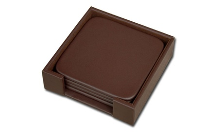 Dacasso A3481 Leather 4 Square Coaster Set with Holder 892137db-d9b7-470f-bfdf-91f60ddcaa2c