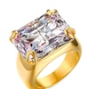 Luxury Gold-Color Square Zircon Stainless Steel Ring for Women