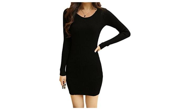 Femirah Women's O Neck Knitted Long Sleeve Slim Fit Sweater Dress