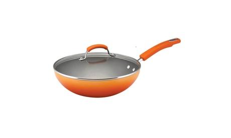Rachael Ray Hard Enamel Nonstick 11in Covered Saute Pan Orange Gradient 107155d7-de10-454b-b696-55102eb02934