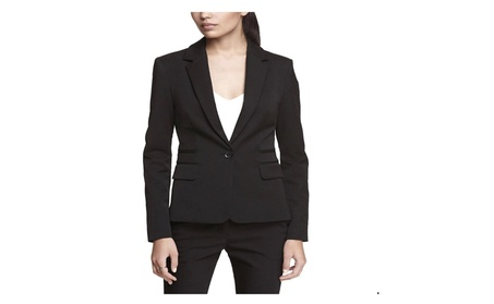 Express Women's 24-in Long Business Suit Jacket Blazer: Black, Size 8