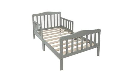 Toddler & Kids Bed Wood Bed Frame w/Two Side Guardrails Bedroom Furniture Gray