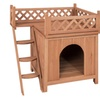 Wood Dog House Shelter With Raised Roof Balcony New