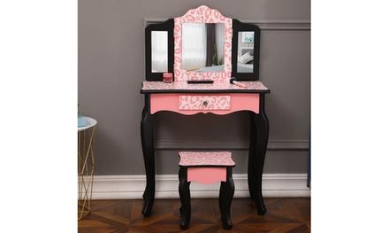 Three-Fold Mirror Single Drawer Arc Feet Children Dresser Red Leopard Print
