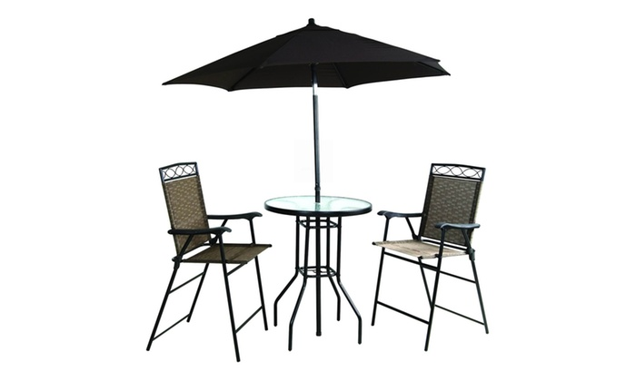Folding Bar Height Patio Set With Table And Umbrella Groupon