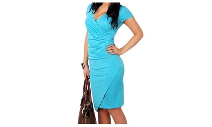 Dresses V-Neck Dress Slim OL Plus Size Office Long Dress Blue