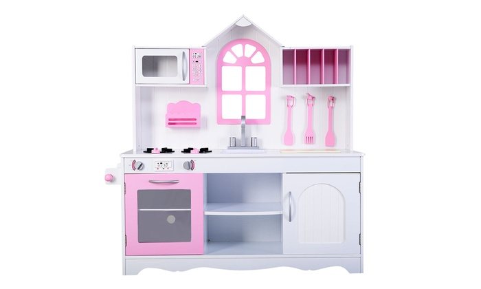 ... Costway Kids Wood Kitchen Toy Cooking Pretend Play Set Toddler Wooden
