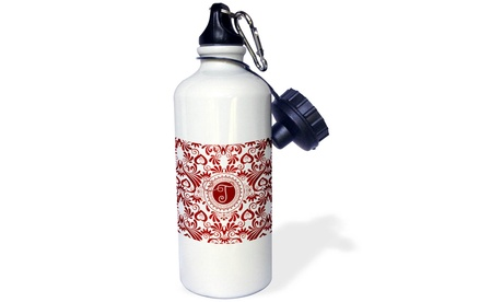 Water Bottle Letter T in Vibrant Ruby Red Hues with White and Monogram photo