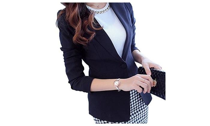 Women Sleeved Black Jacket Lightweight Slim Fit Suits - R0133 Black / US 0 (tag S)