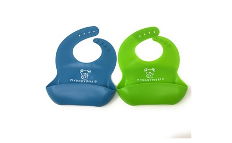 Set of 2 colors Silicone Baby Bib for Baby Toddlers with Food Catcher 8ca2367e-51b0-46ea-abed-74662866de7a