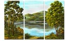 Mountain Lake with Blue Water Landscape Metal Wall Art 36x28 3 Panels