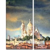 Montmartre Skyline - Watercolor Painting Metal Wall Art