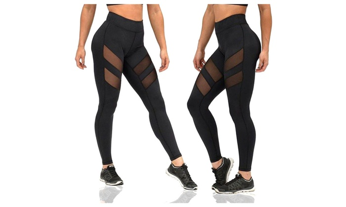 Women Mesh Stretchy Workout Sports Yoga Leggings Ninth Pants Trousers