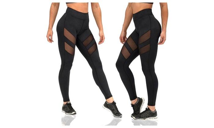 Women's Mesh Stretchy Workout Sportys Yoga Leggings Ninth Pants