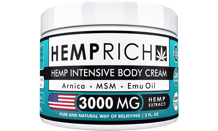 Hemp Cream Pain Relief Natural Hemp Oil Cream Fast Sore Muscle Joint  Relief, 2oz