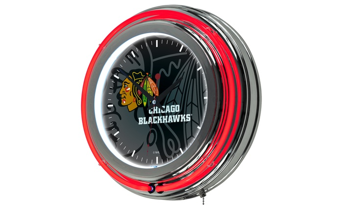Groupon Goods: NHL Chrome Double Rung Neon Clock - Watermark