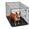"OxGord 36"" Heavy Duty Foldable Double Door Dog Crate with Plastic Tray"