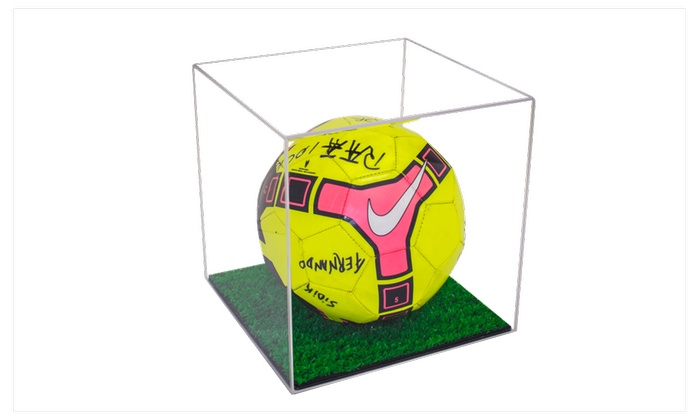 Soccer Ball Display Case with Turf Bottom