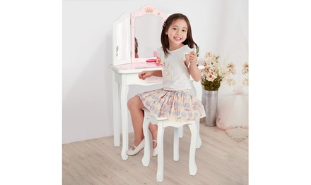 "39"" Children's Dressing Table Three Foldable Mirror/Chair/Single Drawer"