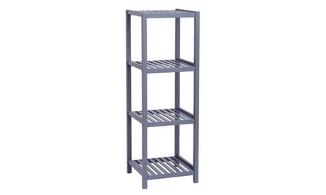 Bamboo Bathroom Shelf 4-Tier Storage Rack Shelving Unit 33 X 33 X 98cm-Grey