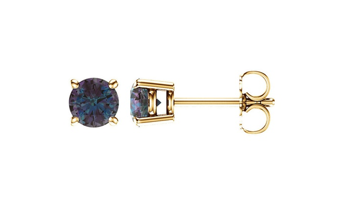 14k Yellow Gold 5 Mm Round Natural Alexandrite Stud Earrings