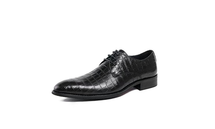 Zorgen Mens Shoes Embossed Genuine Leather Rubber Sole Lacing Wedding Formal Shoes