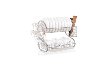 Kitchen Dish Cup 2 Tier Dryer Drying Rack Holder Storage & Organizer 2b53f004-1ca0-4f93-bd00-740a3b535ab5