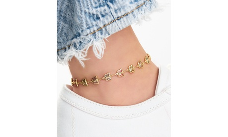 18k Gold Plating Butterfly Crystal Anklet