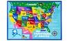 Educational USA States Map / Princess World Reversible Kids Area Rug
