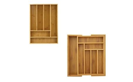 2PC Organic Bamboo Drawer Organizer Cutlery Tray 2b9f14d5-048e-4fa2-9998-18bafd5865bf