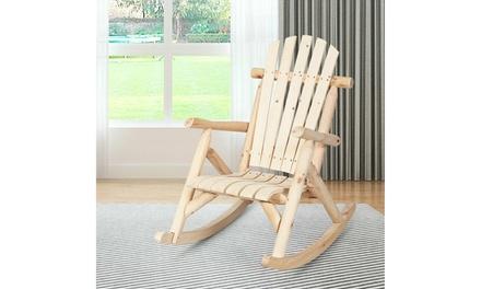 Costway Log Rocking Chair Wood Single Porch Rocker Lounge Patio Deck Furniture