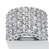 3.11 TCW CZ Platinum over Sterling Silver Ring