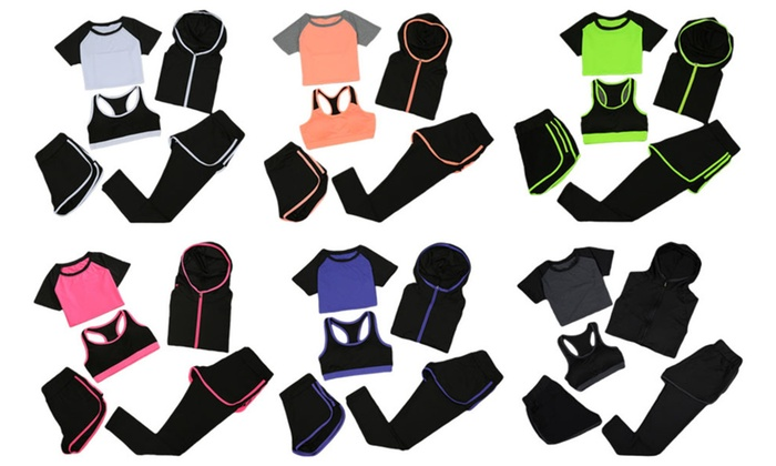 Women Running Yoga Gym Fitness Sportswear 5 pieces Set
