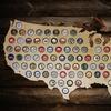 USA Wooden Bottle-Cap Map