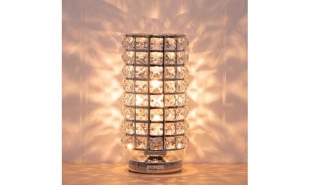 Columnar Crystal Table Lamp Nightstand Desk Reading Decorative Light