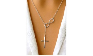 Italian Infinity Cross Lariat Necklace in Silver or Gold
