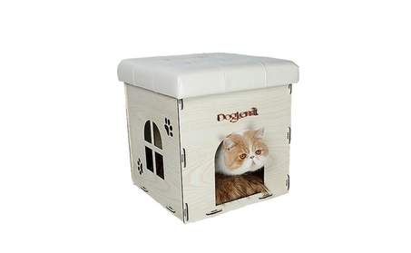 Premium MDF Combination Cat Bed and Ottoman Multifunctional Pet House e5ee64d3-e96c-455d-81d3-5d1290f138f1