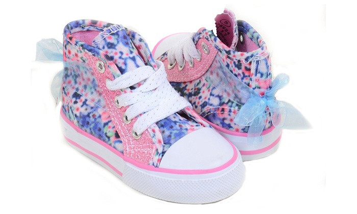 2d01d4b6ae11 Baby Girl Ribbon Pink Glitter Hi-Top Sneakers Infant Size 5