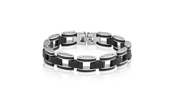 Groupon Goods: Men's Stainless Steel Brushed Rubber Accents Link Bracelet