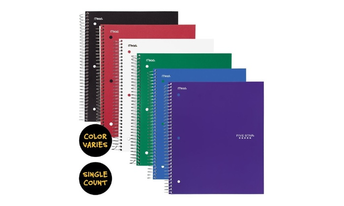 Five Star Spiral Notebook, 3 Subject, College Ruled Paper, 150 Sheets,