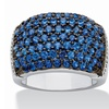 Round Deep Sea Blue Spinel Ring in Silvertone