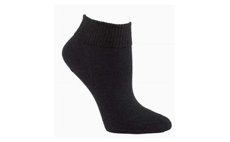 Sugar Free Sox 24801 Womens Ankle Diabetic Socks, Black - Pack of 3