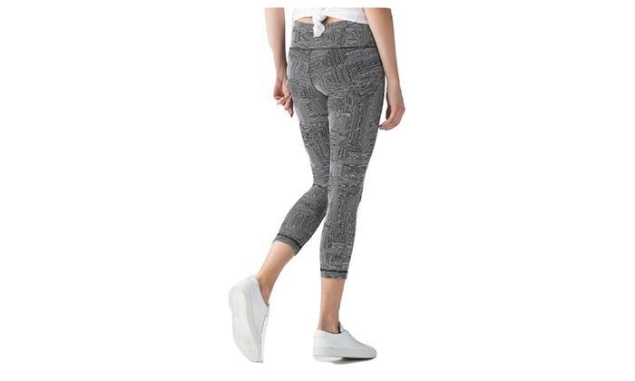 78ec3b664b Lululemon Wunder Under Crop Yoga Pants Maze Jacquard White Black Luon
