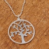 Italian Sterling Silver Diamond Cut Tree Of Life Necklace