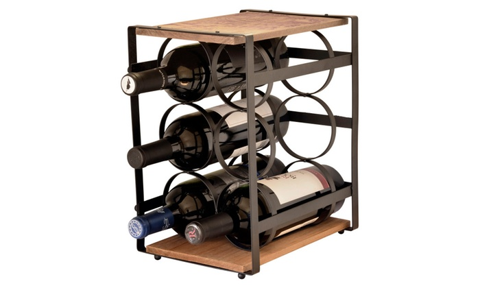 Iron And Wood 6 Bottle Wine Rack Stand