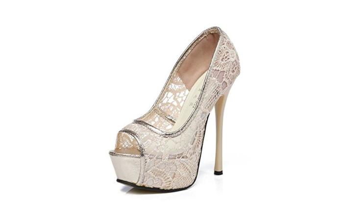 Women Platform High Heel Wedding Shoes Bridal Party Pumps